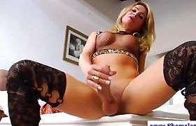 Solo shemale masturbates her hard cock