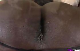 Sexy big black cock tranny cums