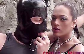 Tgirl dominas spitroast