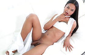Brunette TS Bee A enjoys having anal with a bigcock