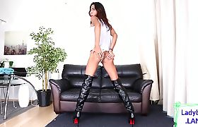 Solo asian tgirl whips her big cock out