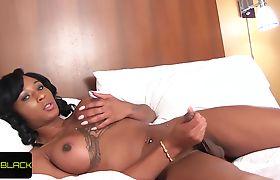 Gorgeous ebony tranny twerking her booty