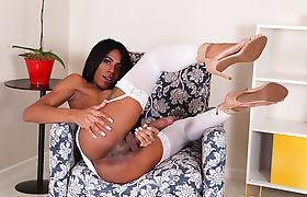 Busty ebony Tbabe Sabrina Loppes jerks off her black shecock