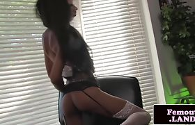 Smalltits trap tugging cock on the couch