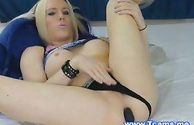 Sexy Playful Blonde Masturbates Her Cock and Ass