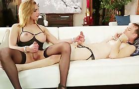 Dominant shemale Jenna Tales fucks sissy