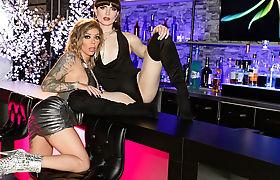 Tgirl Natalie Mars fucks her customer Karma Rx in a club
