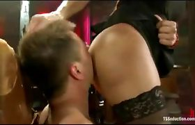Shemale whips out her cock and stuffs it in his virgin mouth and ass