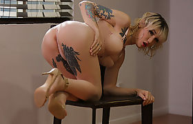 Cutie TS Lena gets slammed from behind by hung fellow Wolf