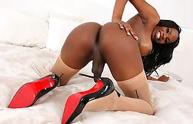 Ebony Tgirl Brooke Morgan Strokes Her Hard Cock