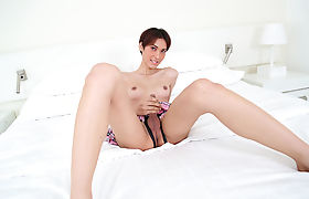 Smalltits asian shemale Jenny G jerks off her hard shecock