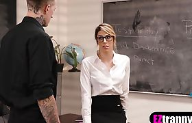 Busty blonde shemale teacher fucked by her student