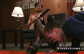 Shemale mistress wanks her and guys cock together
