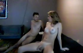 Teen Tranny Getting Blown By A Nerdy Guy