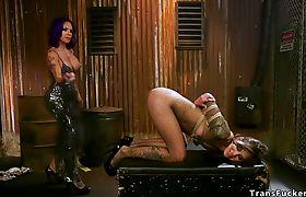 Big booty shemale anal fucks brunette
