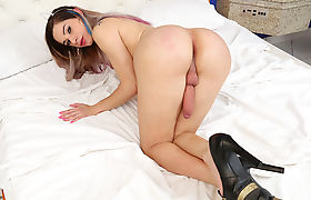 Hot Busty TS Naty Castro rides and doggy dudes cock
