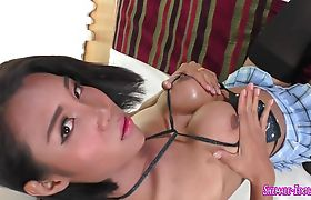 Asian trannies with huge fake tits jerk off