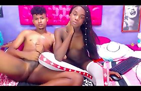 Slender Ebony Shemale Blowing A Dude On Webcam