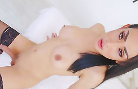 Beauty Asian ts Bella T shows off her body and jerk off cock