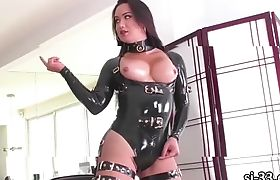 Busty Tgirl Bianka Nascimento gives a sloppy blowjob