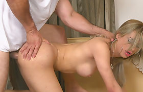 Big tits shemale gets her asshole fucked by her masseur