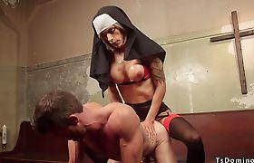 Tranny nun punishing anal male prisoner