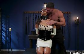TS in latex anal toyed in dungeon