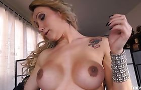 Busty tranny gets her holes stuffed