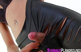 Ebony tgirl toys her ass
