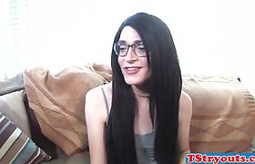 Trans glases chick masturbating in stockings