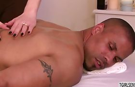Horny shemale Vixen gives a massage fuck to hunk stud