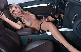 Horny Slut TS Aubrey Kate rides dudes cock in the car