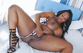Giant boobs ghetto shemale masturbates