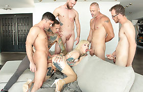 Four cool guys gangbang Tgirl Lena Kelly tight ass so deep and hard