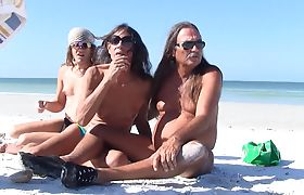 Jamie Plays with T-Girl Michelle at the Beach
