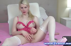 Gorgeous Blonde Shemale Plays her Tiny Dick