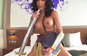 Sweet asian tgirl gets her ass pounded bareback in bed