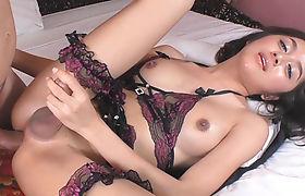Lovely brunette ladyboy gets her anal pounded bareback