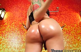 Blonde shemale with big ass and tits riding big stiff cock