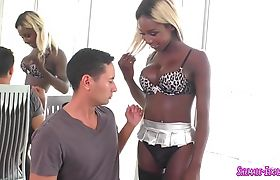 Horny ebony busty shemale loves cumshot