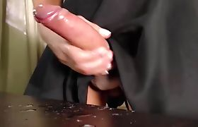 Sexy shemale cumming on her dinner table