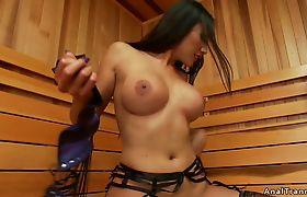 Shemale in lingerie anal fucks guy in sauna