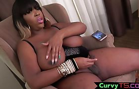 Curvy ebony mature wanking her dong
