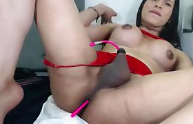 Trans Babe Vibrating Her Thick Asshole