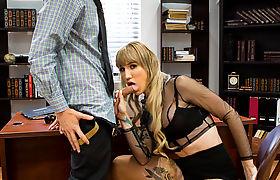 Horny Slut TS Lena Kelly droll while throating dude