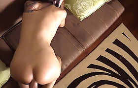 Escort Asian shemale sucks and fucks a clients big dick