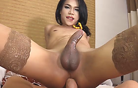 Horny ladyboy offered her asshole for a fuck on the bed