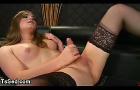 Tranny jerks off dick and cums on face of guy