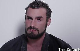 Ladyboy mounts cock and cums masturbating
