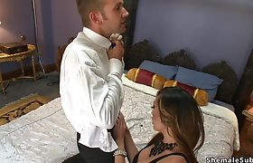 Busty tranny and tattooed lover anal fucking
